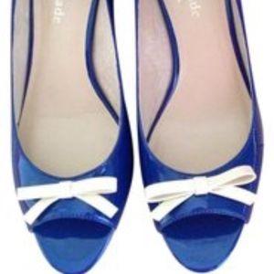 Kate Spade Royal Blue Peep Toe Wedges